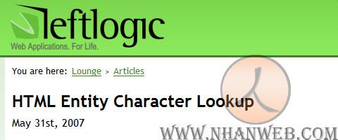 HTML Entity Character Lookup