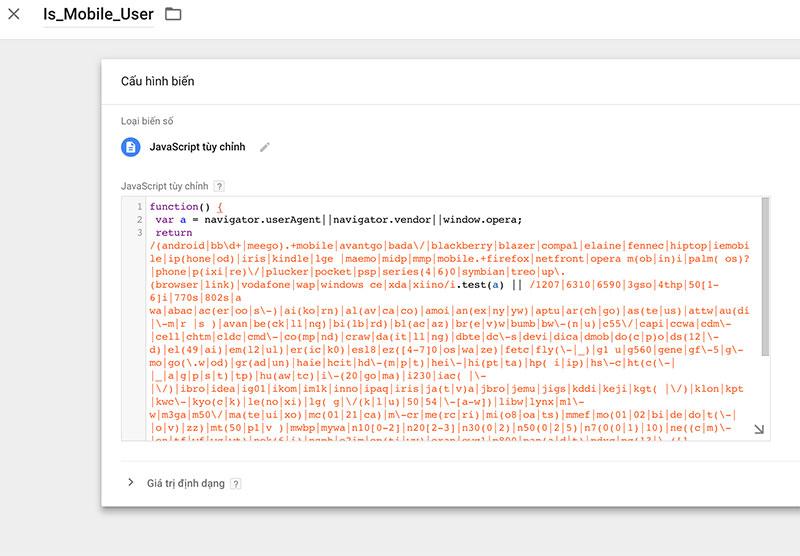 GTM Custom JavaScript Variable: tạo biến xác định thiết bị mobile