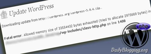 Lỗi Fatal Error : Memory Size Exhausted khi nâng cấp Wordpress