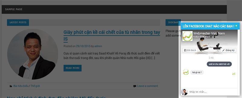 Khung chat sử dụng Fan Page trên FaceBook