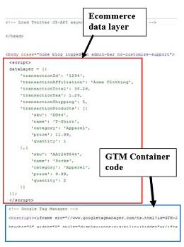 Vị trí đặt mã Ecommerce Tracking