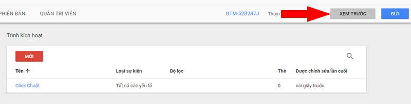 Kích hoạt chế độ Xem trước trong Google Tag Manager