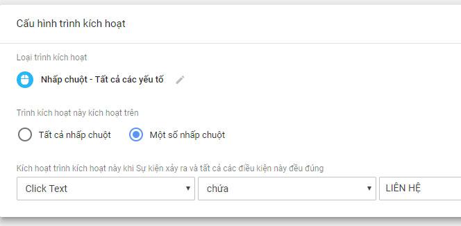 Tag Manager - Cấu hình tùy biến sự kiện click chuột trên trang