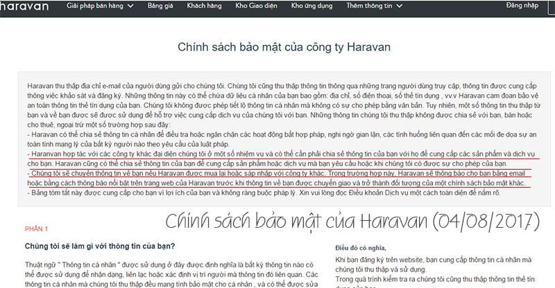 Chính sách bảo mật của Haravan