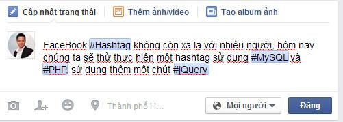 Một status sử dụng Hashtag trên FaceBook